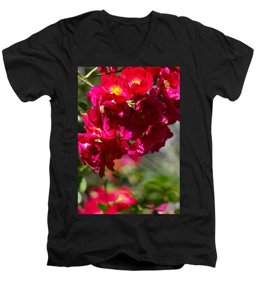 Rose Bouquet Men's V-Neck T-Shirt by Michele Myers