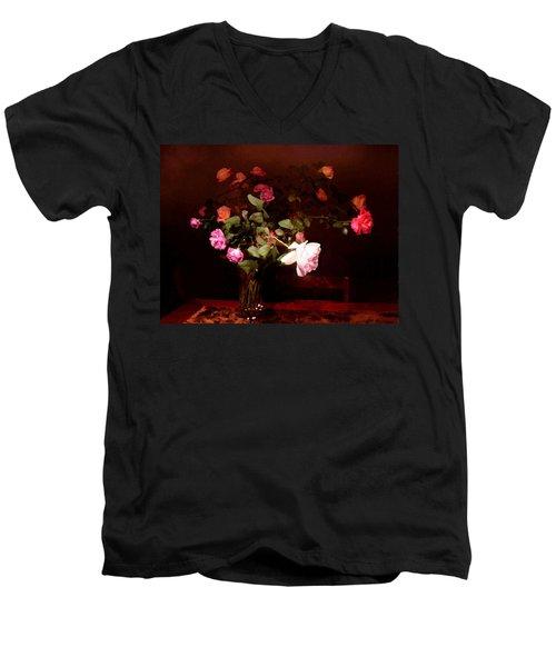 Rose Bouquet Men's V-Neck T-Shirt by Steve Karol