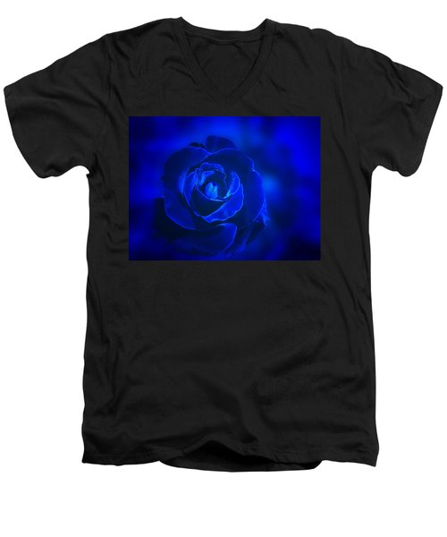 Rose In Blue Men's V-Neck T-Shirt