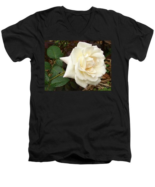 Rose In The Rain Men's V-Neck T-Shirt
