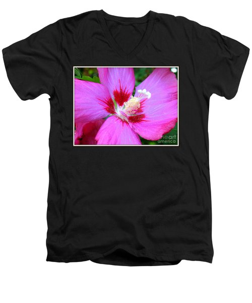 Men's V-Neck T-Shirt featuring the photograph Rose Of Sharon Hibiscus by Patti Whitten