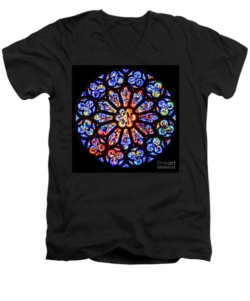 Rose Window Of Grace Cathedral By Diana Sainz Men's V-Neck T-Shirt