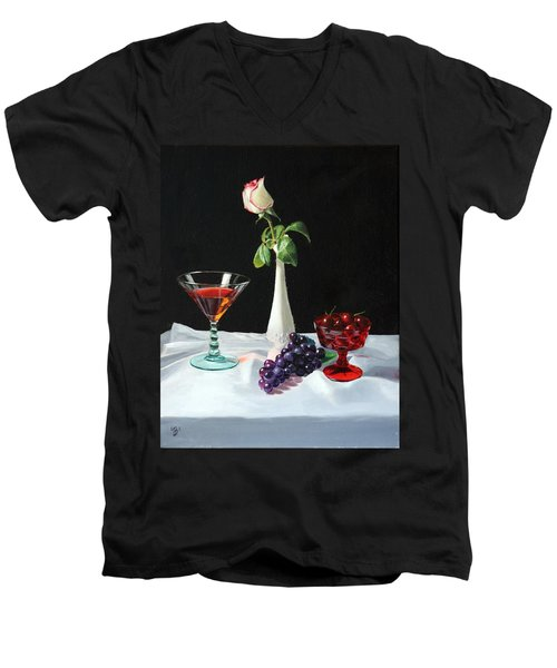 Rose Wine And Fruit Men's V-Neck T-Shirt