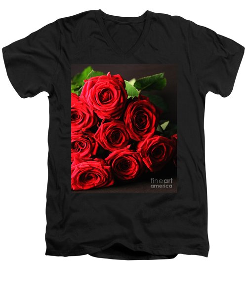 Men's V-Neck T-Shirt featuring the photograph Roses 3 by Mariusz Czajkowski