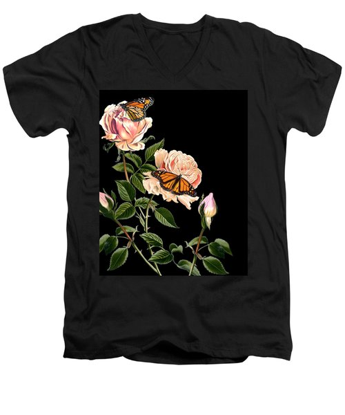 Roses And Butterflies Men's V-Neck T-Shirt