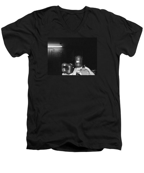 Men's V-Neck T-Shirt featuring the photograph Roses Are Covering Your Black Car by Steven Macanka