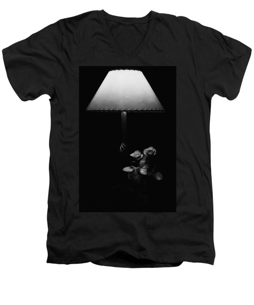 Men's V-Neck T-Shirt featuring the photograph Roses By Lamplight Bw by Ron White