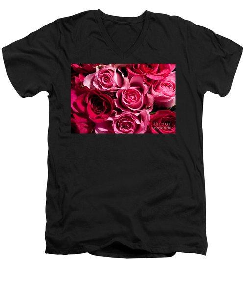 Men's V-Neck T-Shirt featuring the photograph Roses by Matt Malloy