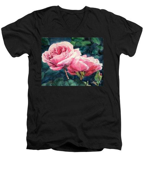 Pink Roses Wildebras Men's V-Neck T-Shirt by Greta Corens