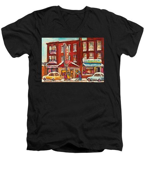 Rotisserie Le Chalet Bar B Q Sherbrooke West Montreal Winter City Scene Men's V-Neck T-Shirt by Carole Spandau