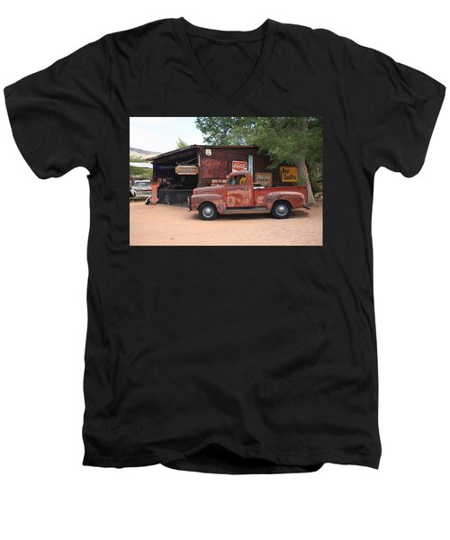 Route 66 Garage And Pickup Men's V-Neck T-Shirt by Frank Romeo