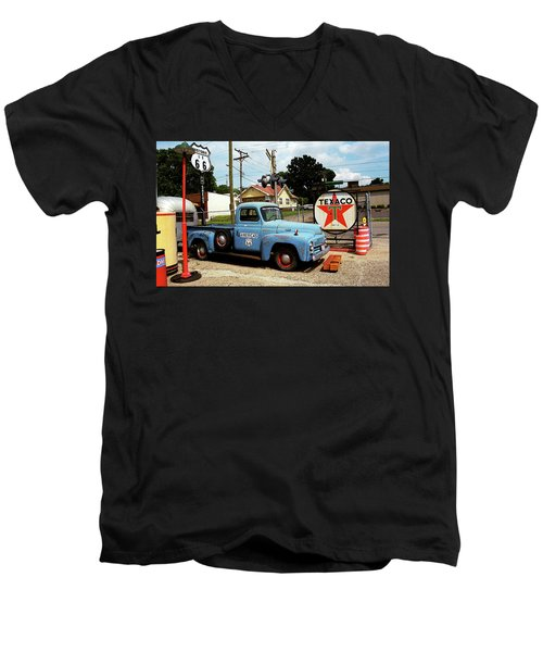 Route 66 - Gas Station With Watercolor Effect Men's V-Neck T-Shirt by Frank Romeo