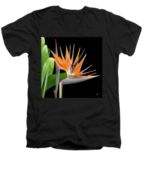 Royal Beauty I - Bird Of Paradise Men's V-Neck T-Shirt by Ben and Raisa Gertsberg