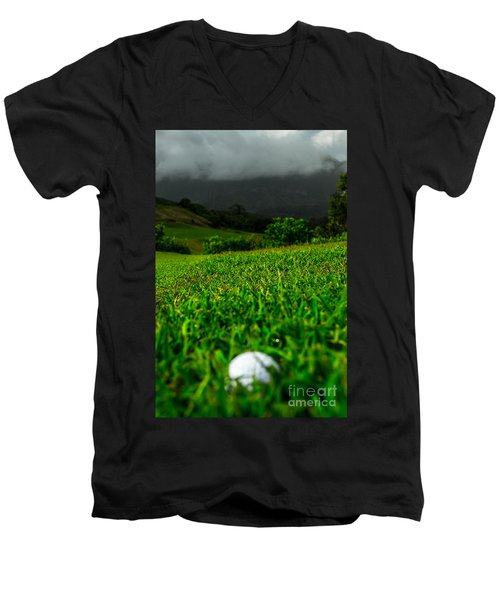 Men's V-Neck T-Shirt featuring the photograph Royal Hawaiian Golf by Angela DeFrias
