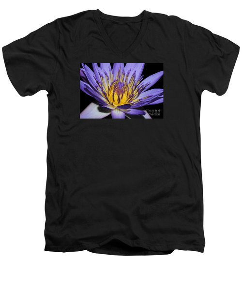 Royal Purple Water Lily #5 Men's V-Neck T-Shirt by Judy Whitton