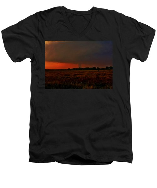 Men's V-Neck T-Shirt featuring the photograph Rozel Tornado On The Horizon by Ed Sweeney