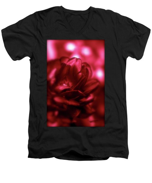 Ruby Red  Dahlia With Bokeh Men's V-Neck T-Shirt