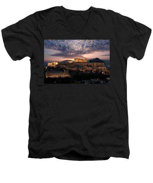 Ruins Of A Temple, Athens, Attica Men's V-Neck T-Shirt