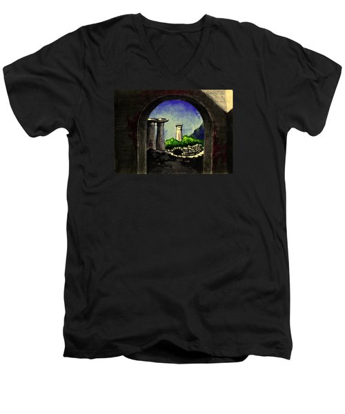 Men's V-Neck T-Shirt featuring the painting Ruins by Salman Ravish