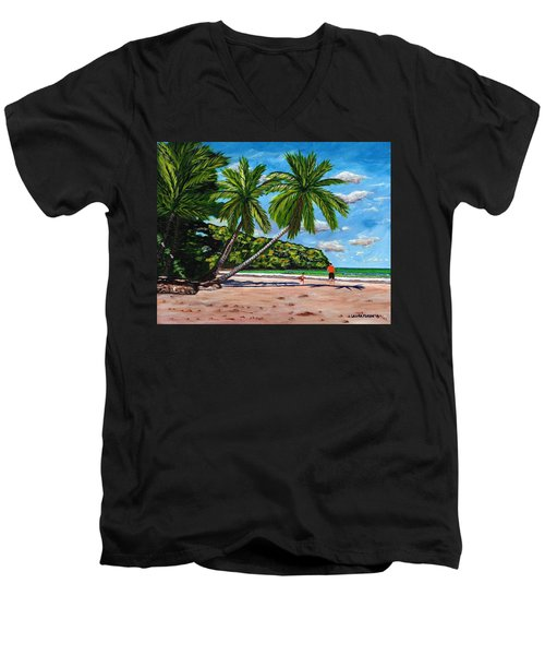 Men's V-Neck T-Shirt featuring the painting Running by Laura Forde