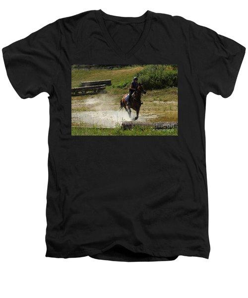 Running Thru Water  Men's V-Neck T-Shirt