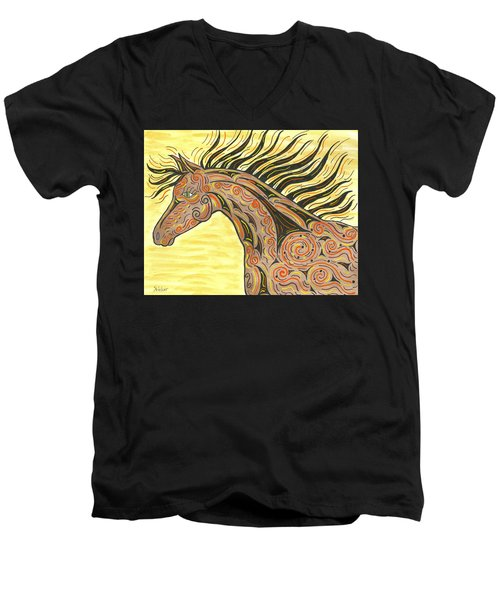 Running Wild Horse Men's V-Neck T-Shirt by Susie WEBER