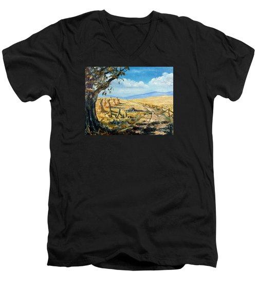 Rural Farmland Americana Folk Art Autumn Harvest Ranch Men's V-Neck T-Shirt by Lee Piper