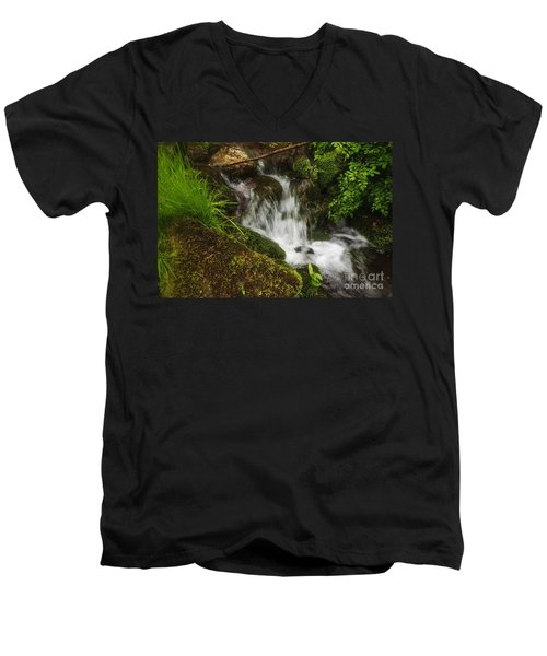 Rushing Mountain Stream And Moss Men's V-Neck T-Shirt