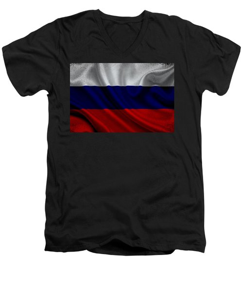 Russian Flag Waving On Canvas Men's V-Neck T-Shirt