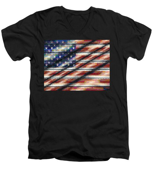Rustic Usa Men's V-Neck T-Shirt