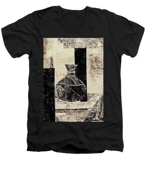 Rustic Vase Black And White Men's V-Neck T-Shirt by Patricia Cleasby