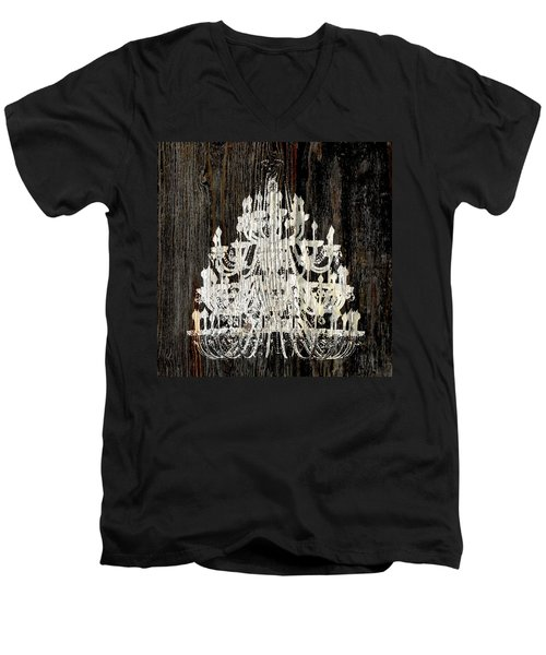 Rustic Shabby Chic White Chandelier On Wood Men's V-Neck T-Shirt by Suzanne Powers