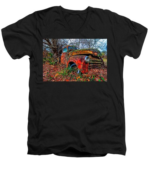 Men's V-Neck T-Shirt featuring the photograph Rusty 1950 Chevrolet by Andy Crawford