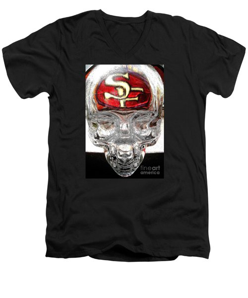 Men's V-Neck T-Shirt featuring the photograph S. F. 49ers by John King