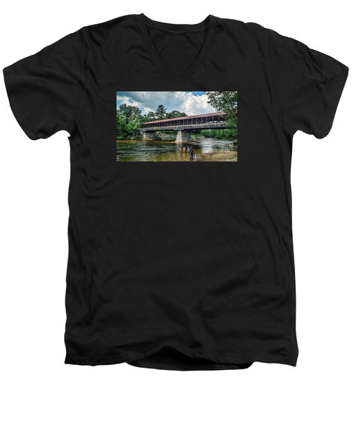 Men's V-Neck T-Shirt featuring the photograph Saco River Covered Bridge  by Debbie Green