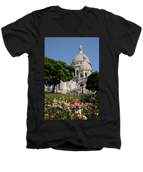 Sacre Coeur Flowers Men's V-Neck T-Shirt by Jeremy Voisey