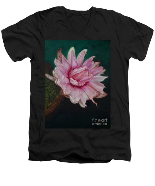 Men's V-Neck T-Shirt featuring the painting Sacred Red Lotus by Mukta Gupta
