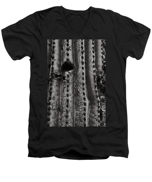Saguaro Cactus Black And White 1 Men's V-Neck T-Shirt