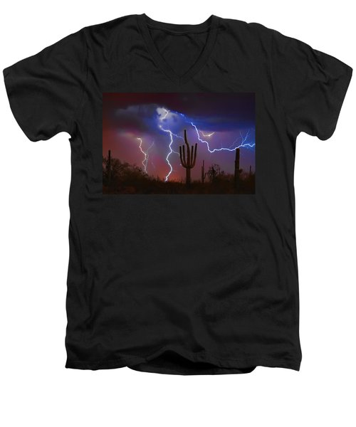 Saguaro Lightning Nature Fine Art Photograph Men's V-Neck T-Shirt