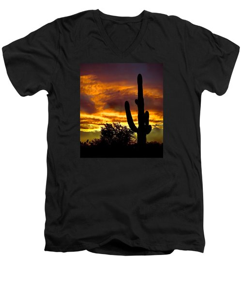 Saguaro Silhouette  Men's V-Neck T-Shirt by Robert Bales