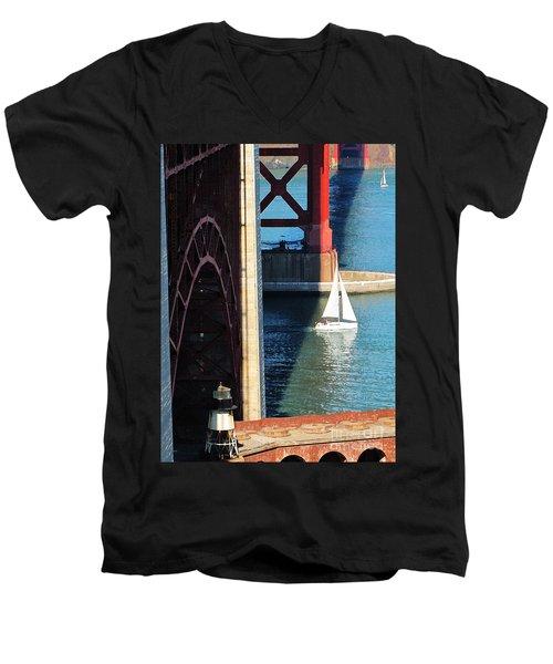 Sail Boat Passes Beneath The Golden Gate Bridge Men's V-Neck T-Shirt