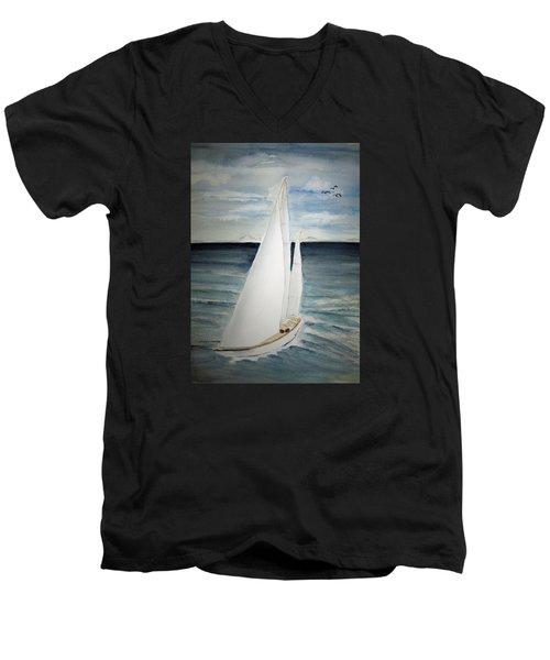 Sailing Men's V-Neck T-Shirt by Elvira Ingram