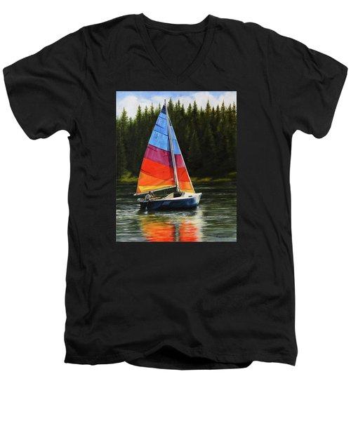Sailing On Flathead Men's V-Neck T-Shirt by Kim Lockman