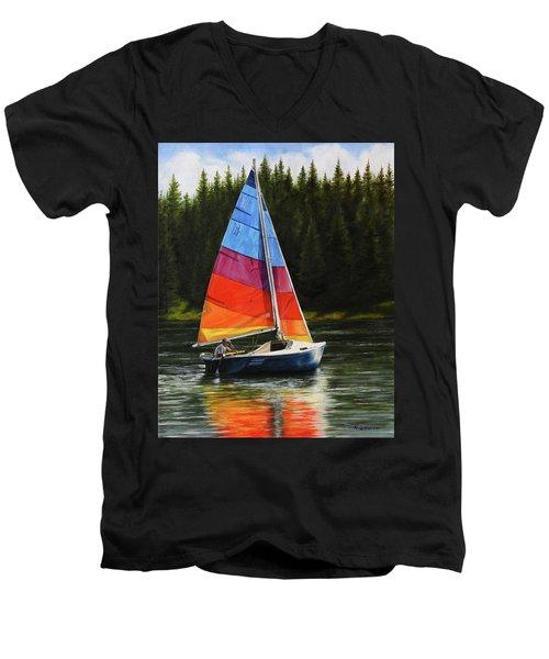 Sailing On Flathead Men's V-Neck T-Shirt