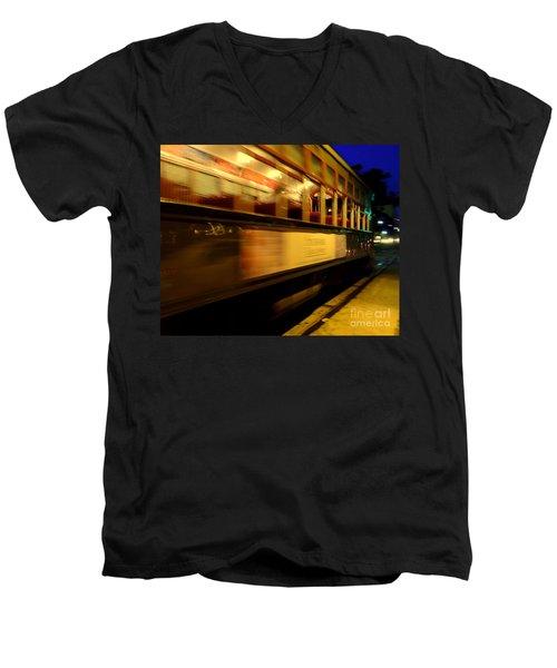 New Orleans Saint Charles Avenue Street Car In  Louisiana #7 Men's V-Neck T-Shirt by Michael Hoard