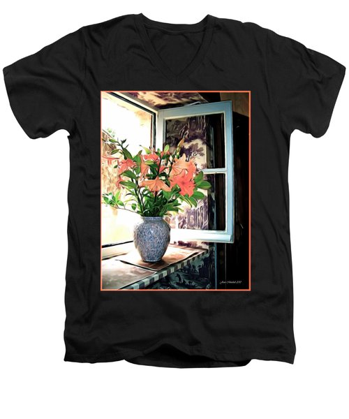 Men's V-Neck T-Shirt featuring the photograph Saint Emilion Window by Joan  Minchak