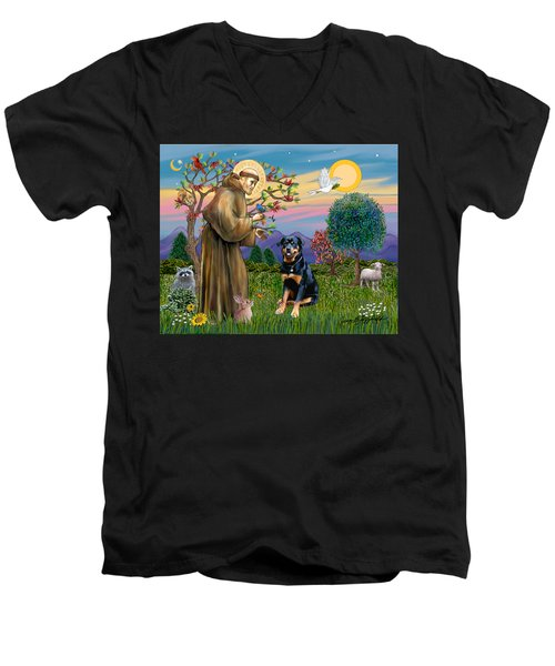 Saint Francis Blesses A Rottweiler Men's V-Neck T-Shirt