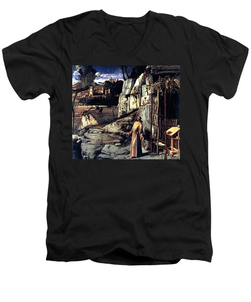 Men's V-Neck T-Shirt featuring the painting Saint Francis In Ecstasy 1485 Giovanni Bellini by Karon Melillo DeVega