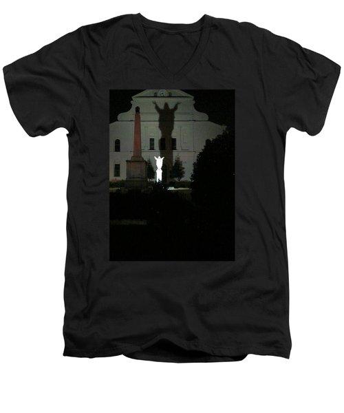 Saint Louis Cathedral Courtyard - New Orleans La Men's V-Neck T-Shirt by Deborah Lacoste