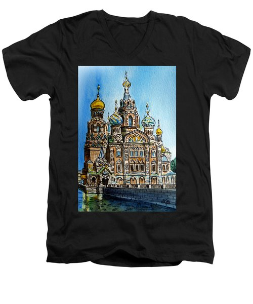 Saint Petersburg Russia The Church Of Our Savior On The Spilled Blood Men's V-Neck T-Shirt